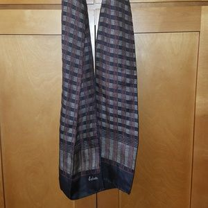 Men's  Echo Vintage Silk Scarf Black/Red Check